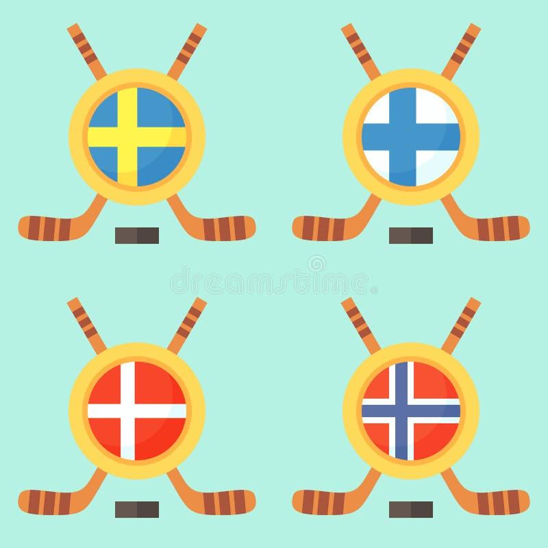 Hokej w Szwecja, Finlandia, Dani i Norwegia, ilustracji