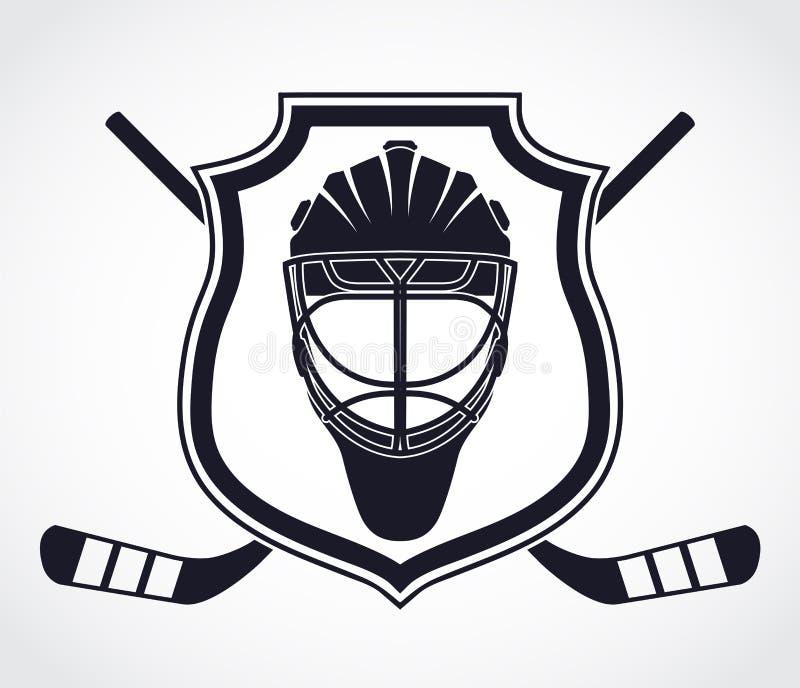 Hokeja bramkarza hełma heraldyki osłony symbol ilustracja wektor