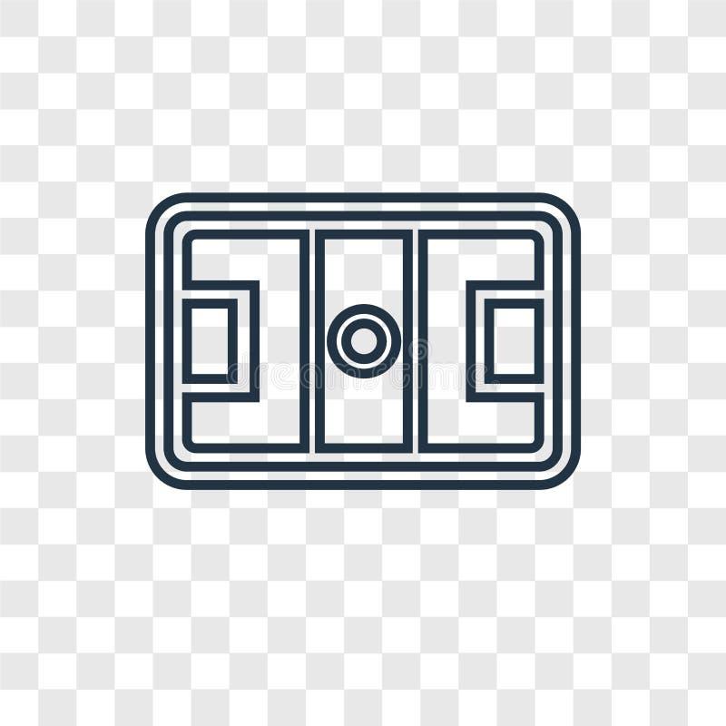 Hokeja maskowego pojęcia wektorowa liniowa ikona odizolowywająca na przejrzysty b ilustracja wektor