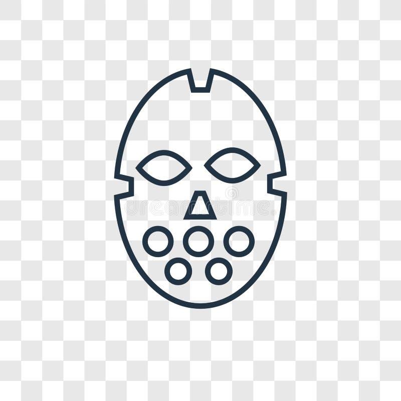 Hokeja maskowego pojęcia wektorowa liniowa ikona odizolowywająca na przejrzysty b ilustracji