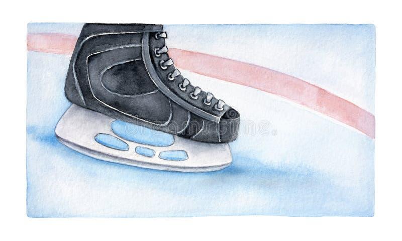 Hokeja na lodzie łyżwiarstwa but na bawić się lodowiska tło royalty ilustracja