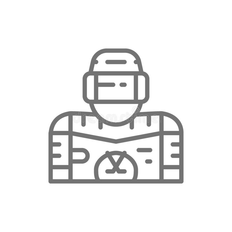 Hokeja na lodzie gracz, bramkarz kreskowa ikona ilustracja wektor