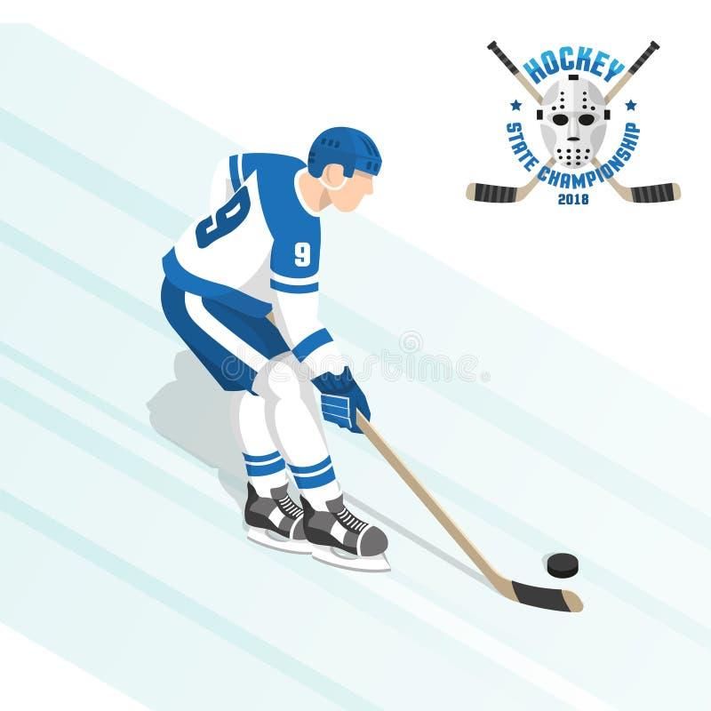 Hokeja na lodzie gracz z krążkiem hokojowym w białym błękicie munduruje podczas gry ilustracji