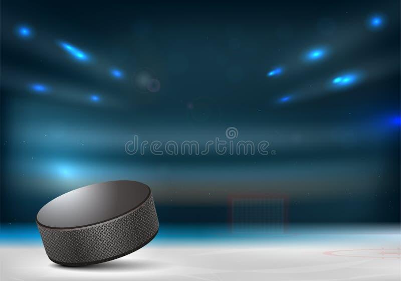 Hokeja na lodzie krążek hokojowy w hokejowej arenie ilustracji