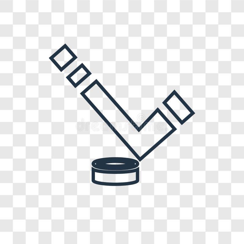 Hokeja na lodzie pojęcia wektorowa liniowa ikona odizolowywająca na przejrzystych półdupkach ilustracji