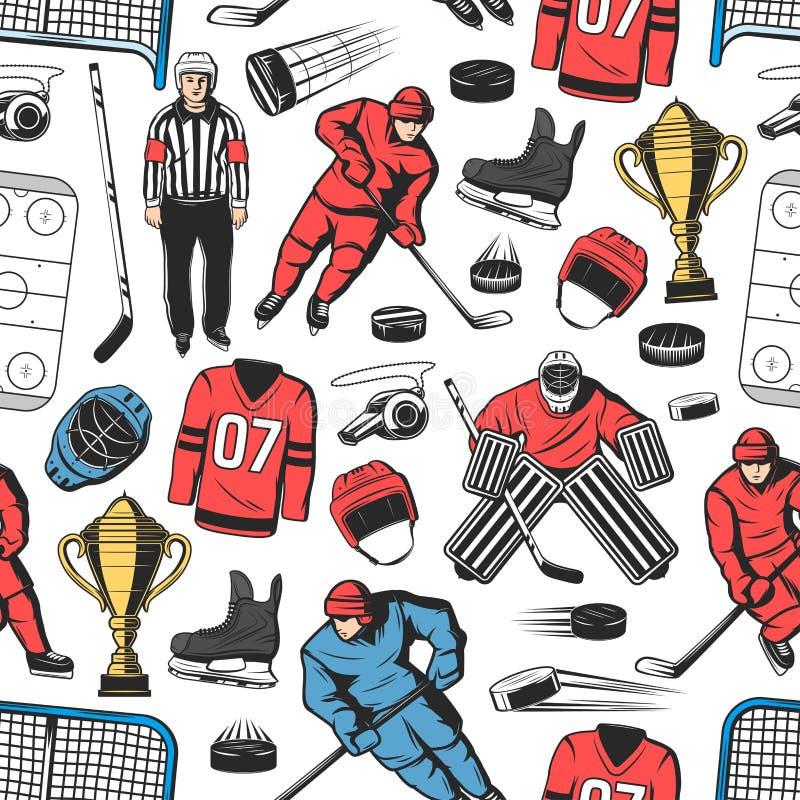 Hokeja na lodzie sporta gemowy bezszwowy wzór ilustracja wektor