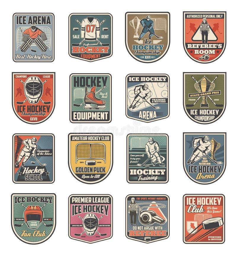 Hokeja na lodzie sporta ikony, gracze i sportowe rzeczy, ilustracja wektor