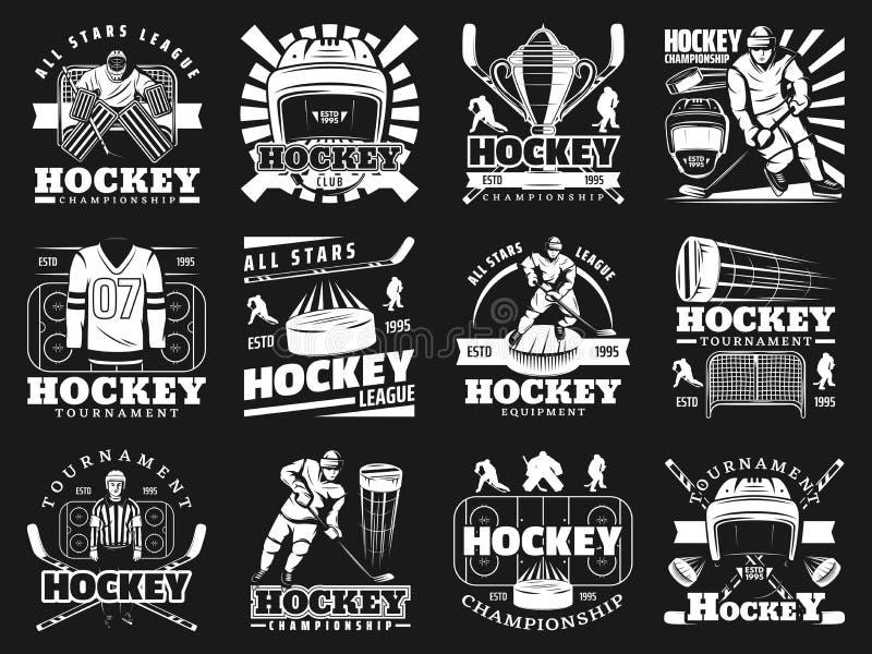 Hokeja na lodzie sporta monochromatyczne ikony, wektor royalty ilustracja