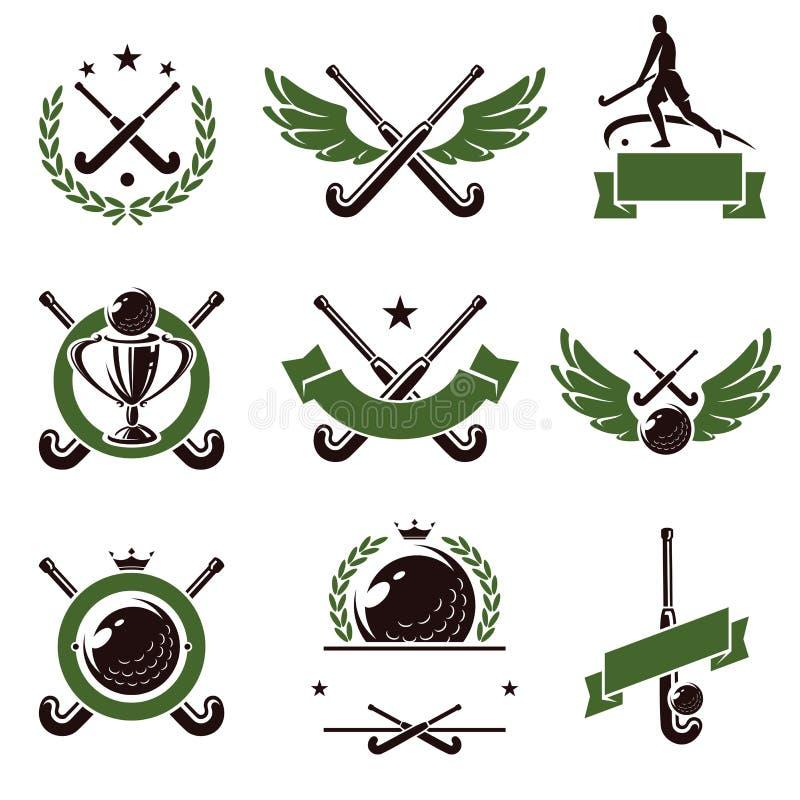 Hokeja pola etykietki i ikony ustawiający wektor royalty ilustracja