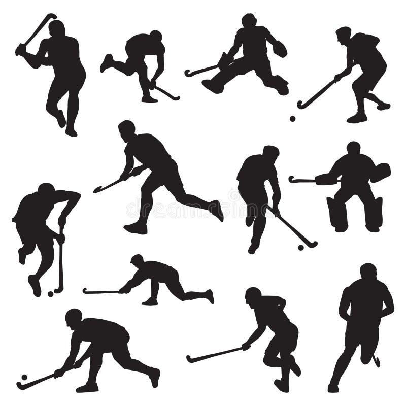 Hokeja pole na trawy atlety sylwetki secie ilustracja wektor