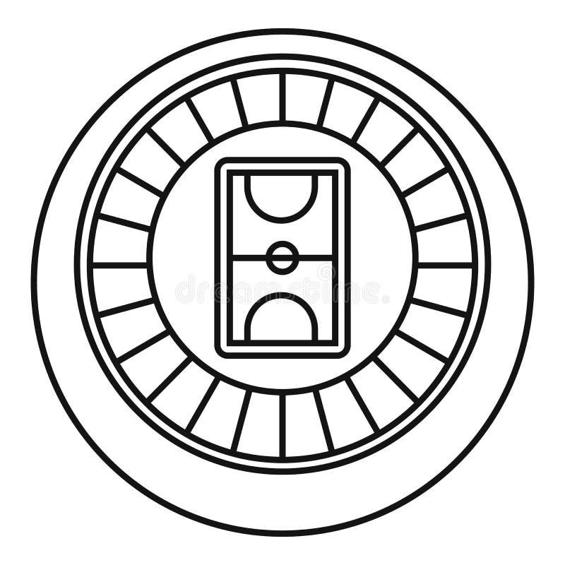 Hokejowa areny ikona, konturu styl royalty ilustracja