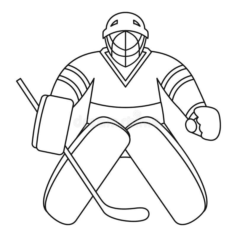 Hokejowa bramkarz ikona, konturu styl ilustracji