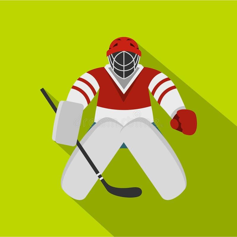 Hokejowa bramkarz ikona, mieszkanie styl royalty ilustracja