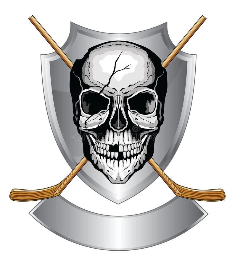 Hokejowa czaszka Z kijami ilustracji
