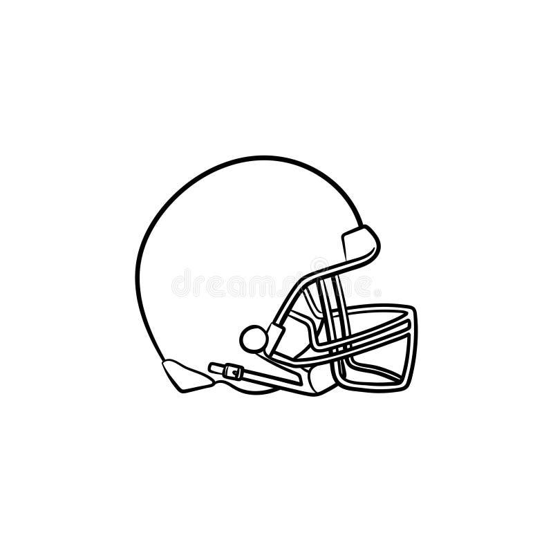 Hokejowa ręka rysująca hełma konturu doodle ikona ilustracja wektor