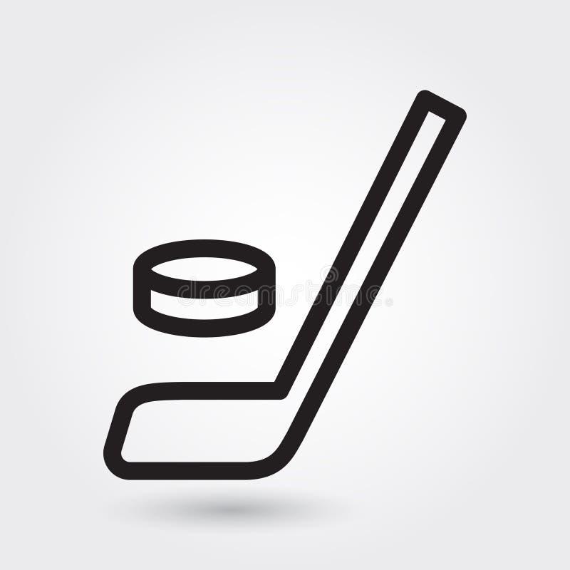 Hokejowa wektorowa ikona, Hokejowego kija ikona, Hokejowy sporta symbol Nowożytny, prosty kontur, konturu wektoru ilustracja ilustracji