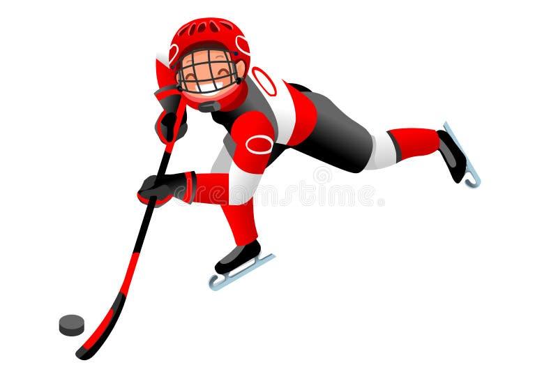 Hokejowa Wektorowa kreskówki chłopiec ikona ilustracja wektor
