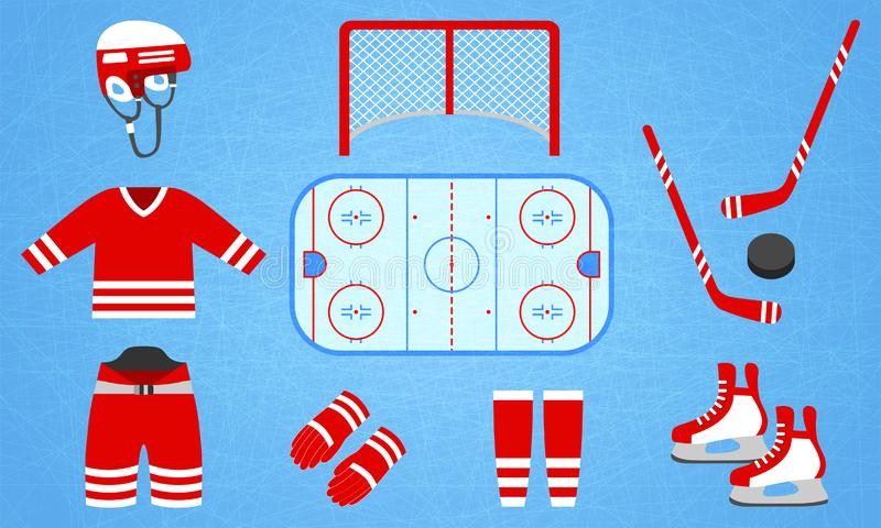 Hokejowa wyposażenie kolekcja również zwrócić corel ilustracji wektora Odosobnione ikony dla zima sportów projektów Hokejowy krąż ilustracja wektor