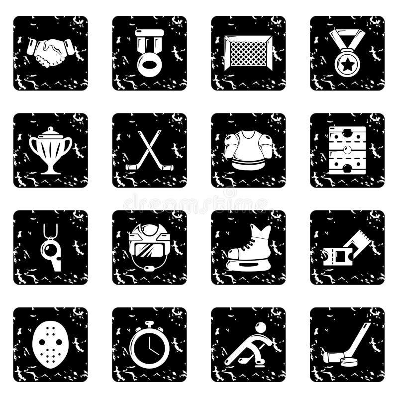 Hokejowe ikony ustawiają grunge wektor royalty ilustracja