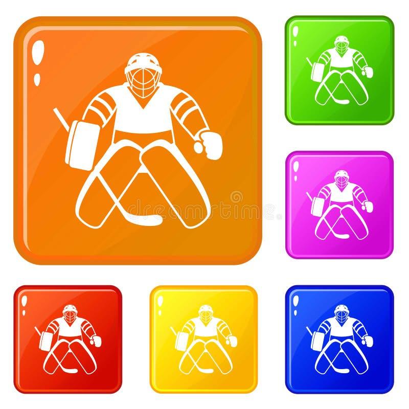 Hokejowe ikony ustawiający bramkarza wektorowy kolor ilustracja wektor