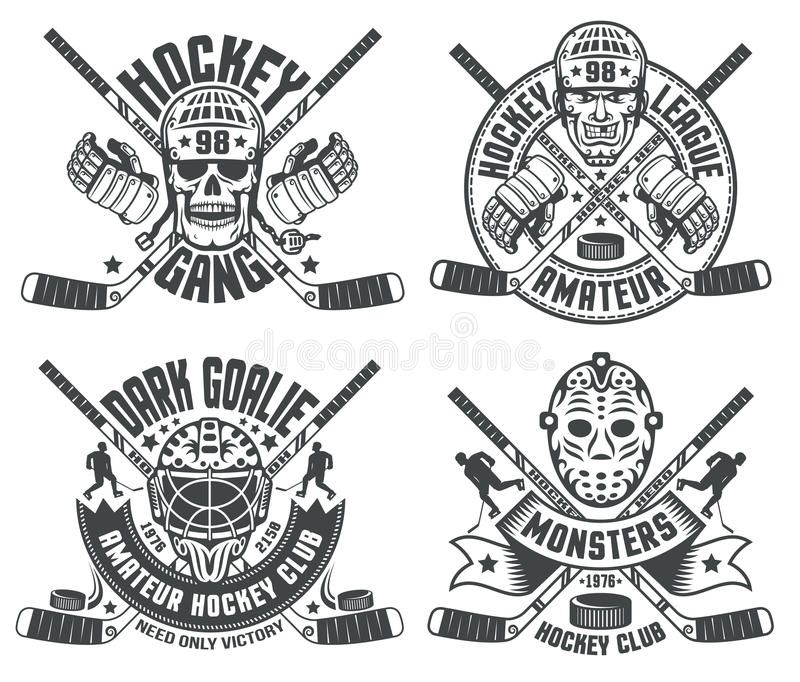 Hokejowe loga bramkarza maski royalty ilustracja