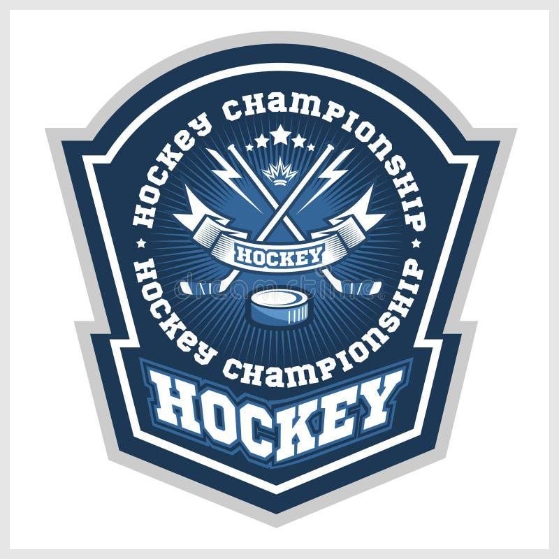 Hokejowe mistrzostwo loga etykietki Wektorowy sport ilustracja wektor