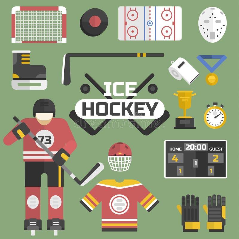 Hokejowe sport ikony wyposażenie i gracz projektują wektorową ilustrację ilustracja wektor