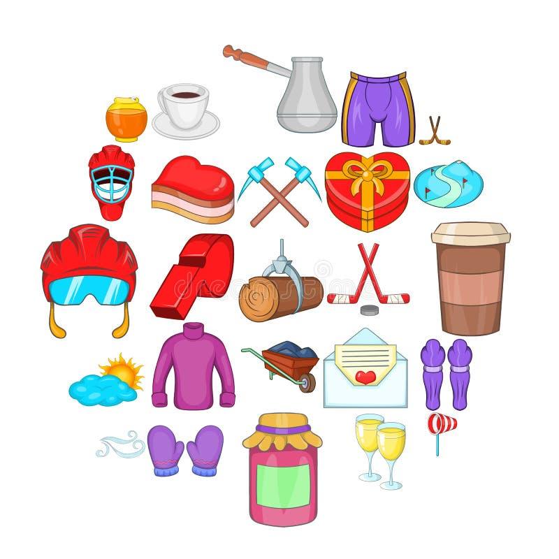 Hokejowe ubraniowe ikony ustawiać, kreskówka styl royalty ilustracja