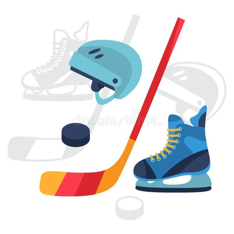 Hokejowe wyposażenie ikony ustawiać w płaskim projekcie projektują royalty ilustracja