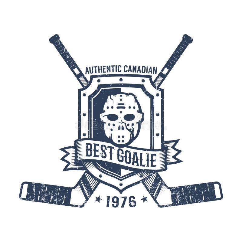 Hokejowego bramkarza retro logo ilustracji