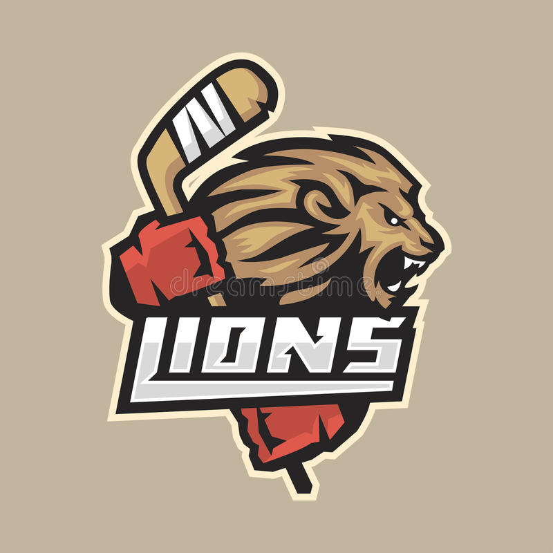 Hokejowego emblemata okrutnie lew z kijem ilustracji
