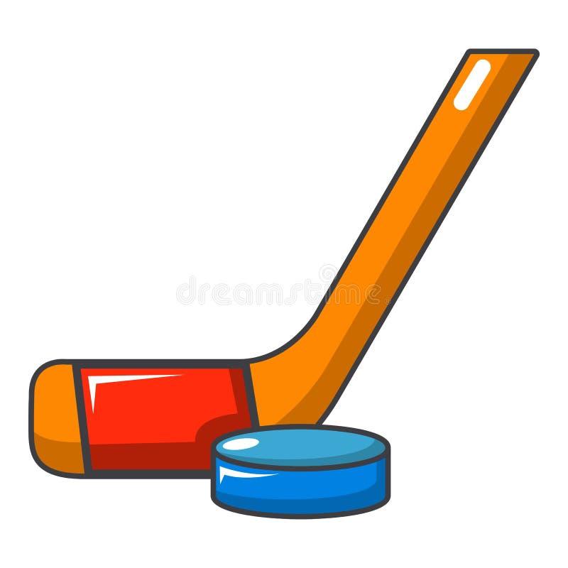 Hokejowego kija i krążka hokojowego ikona, kreskówka styl ilustracja wektor
