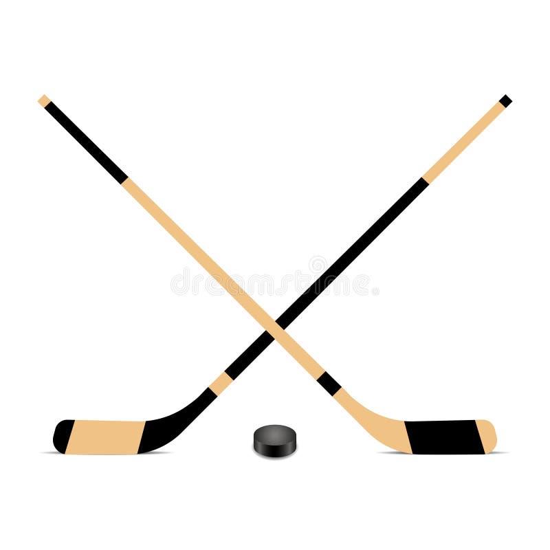 Hokejowego kija i krążka hokojowego ikona również zwrócić corel ilustracji wektora ilustracji