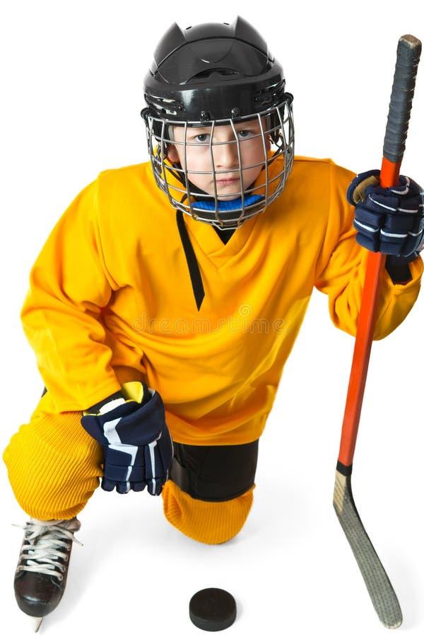 hokejowego kolana jeden gracza trwanie młodość obraz stock