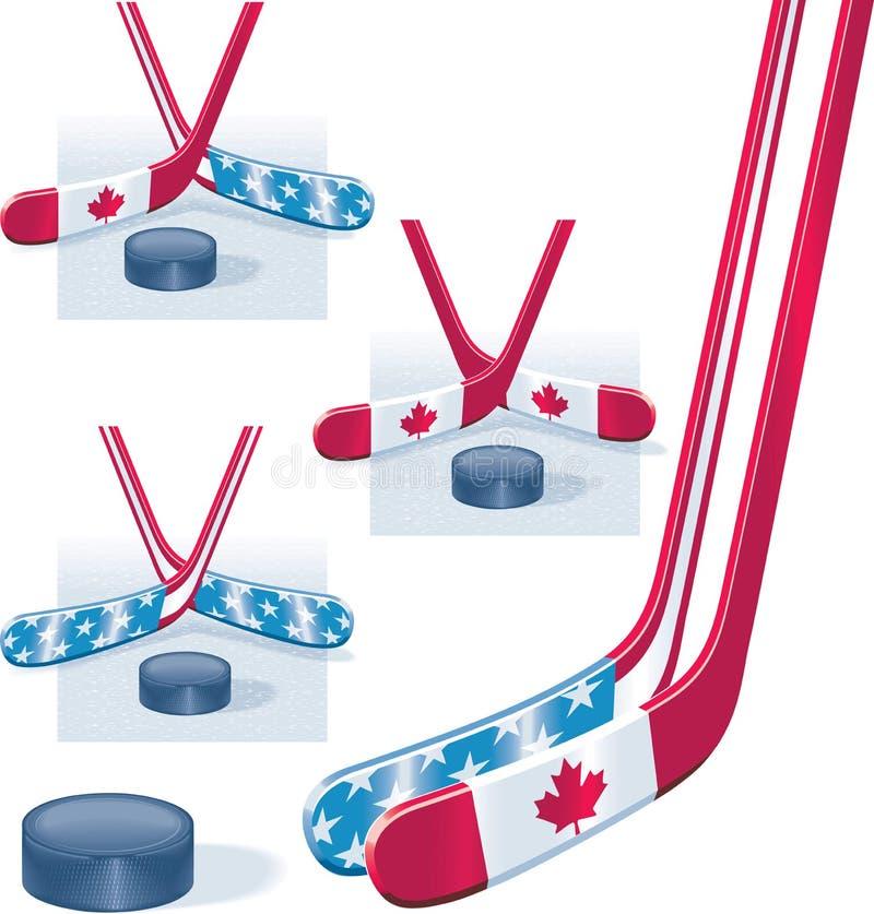 hokejowego krążek hokojowy kije ilustracji