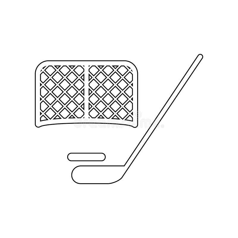 Hokejowego kr??ka hokojowego i bram ikona Element Rosja dla mobilnego poj?cia i sieci apps ikony Kontur, cienka kreskowa ikona dl ilustracja wektor