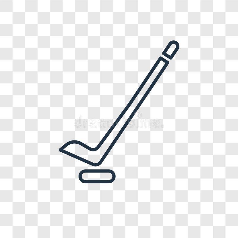 Hokejowego pojęcia wektorowa liniowa ikona odizolowywająca na przejrzystym backgr ilustracji