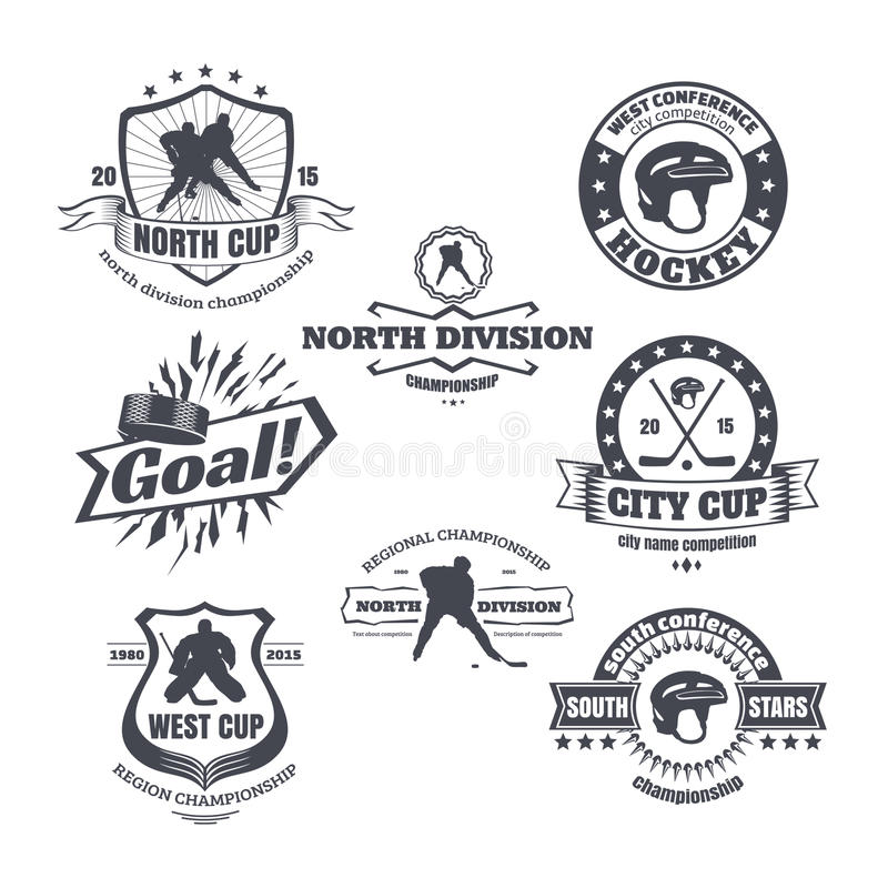 Hokejowi emblematy ilustracja wektor