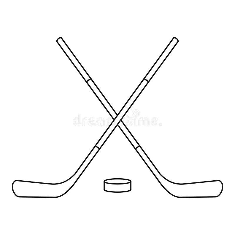 Hokejowi kije i krążek hokojowy ikona, konturu styl royalty ilustracja