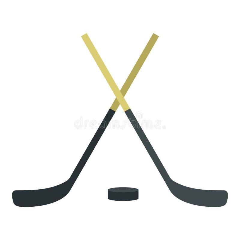 Hokejowi kije i krążek hokojowy ikona, mieszkanie styl ilustracji