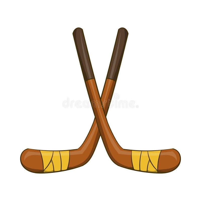 Hokejowi kije ikona, kreskówka styl ilustracja wektor