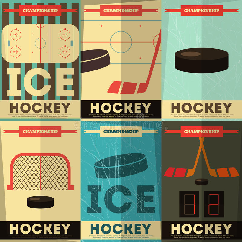 Hokejowi plakaty royalty ilustracja