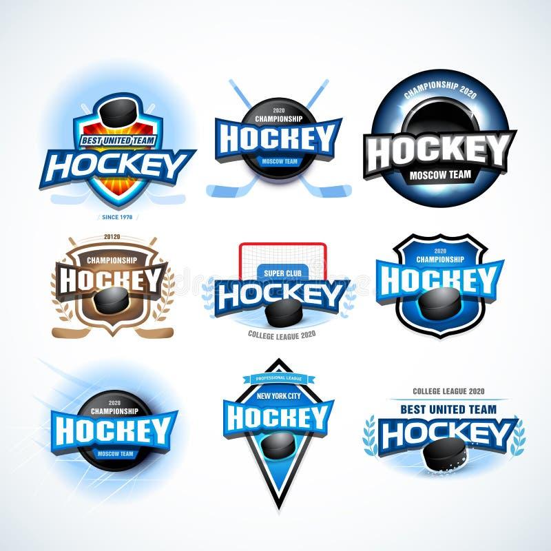 Hokejowi sport drużyny logotypu szablony ustawiający Drużyna hokejowa loga szablon Hokejowy emblemat, logotypu szablon, koszulki  royalty ilustracja