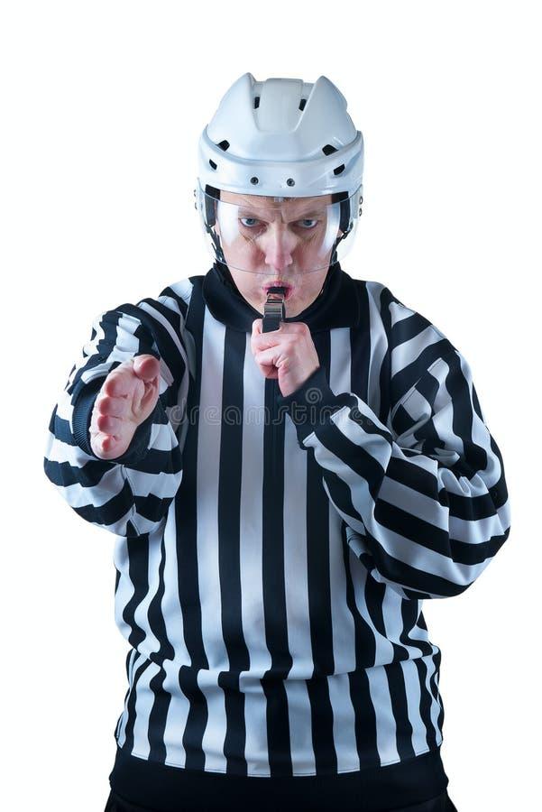 Hokejowy arbiter demonstruje bramkowego sygnał zdjęcie stock