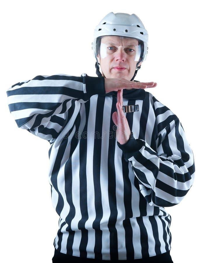 Hokejowy arbiter demonstruje timeout gest obrazy stock