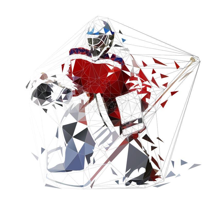 Hokejowy bramkarz, geometryczna wektorowa ilustracja ilustracji