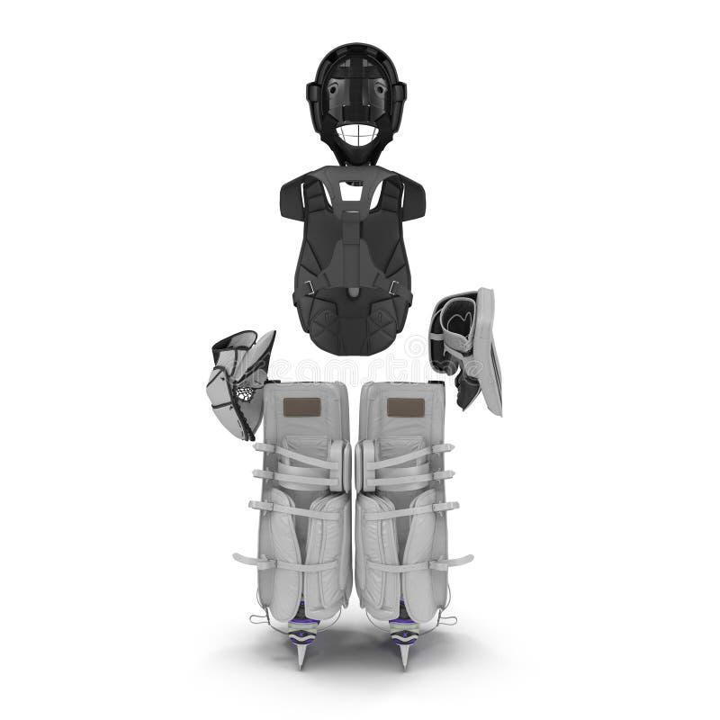 Hokejowy bramkarz ochrony zestaw na bielu ilustracja 3 d ilustracja wektor