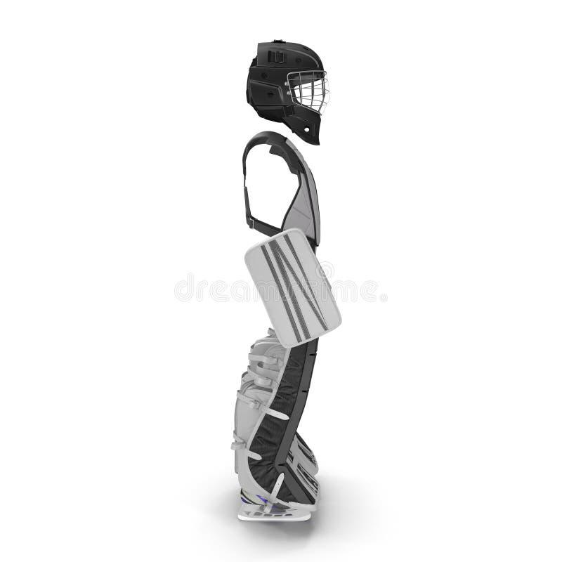 Hokejowy bramkarz ochrony zestaw na bielu ilustracja 3 d ilustracji