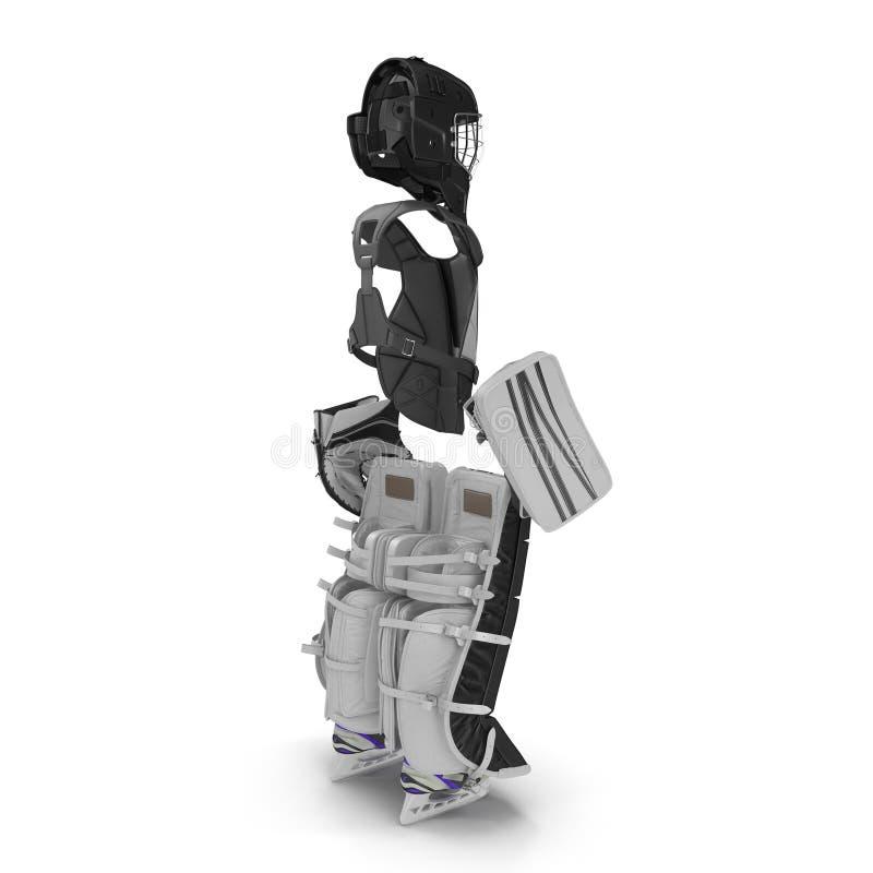 Hokejowy bramkarz ochrony zestaw na bielu ilustracja 3 d royalty ilustracja