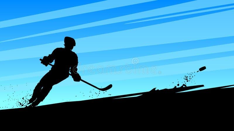 Hokejowy dynamiczny gracz royalty ilustracja
